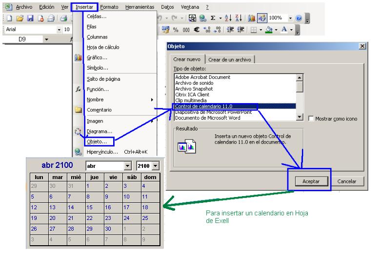 imagen-insertar calendario en hoja de excel