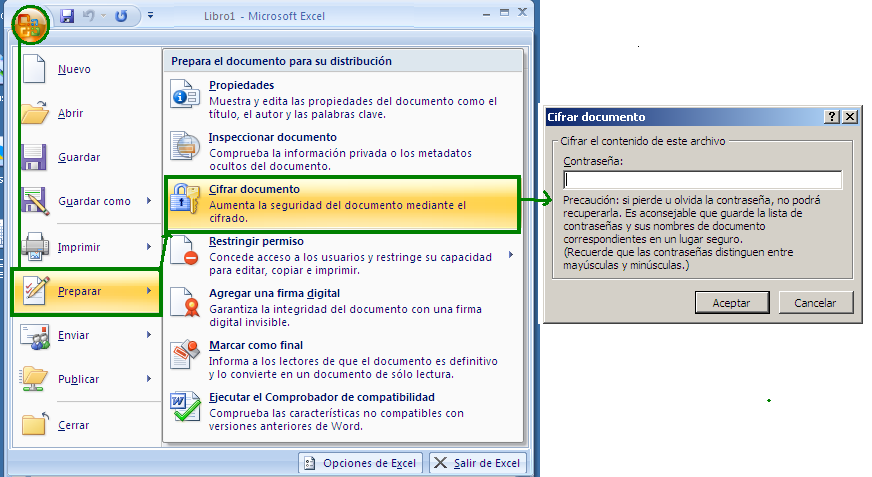 Proteger documentos excel-2007