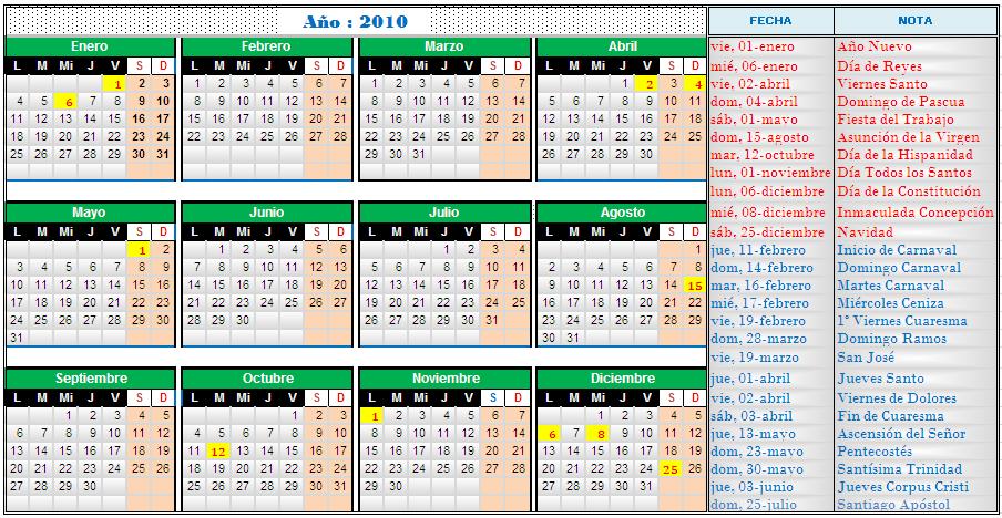 Calendario Con Santos.Calendario 2010 Y 2011