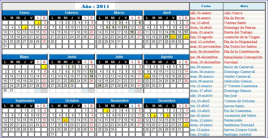 Calendario 2011 Espana.Calendario 2010 Y 2011