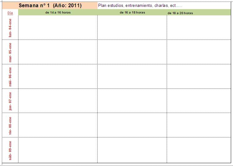 Plantillas horarios semanales para imprimir - Imagui