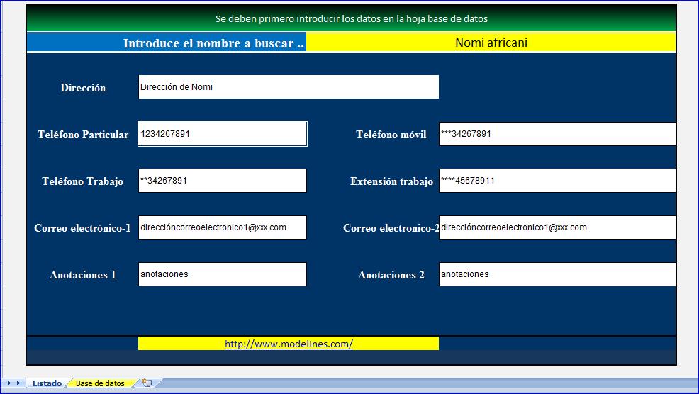 Agenda telefónica en Excel