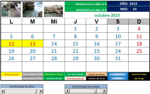 calendario mensual toda la vida