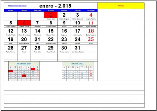 Calendario anual por meses