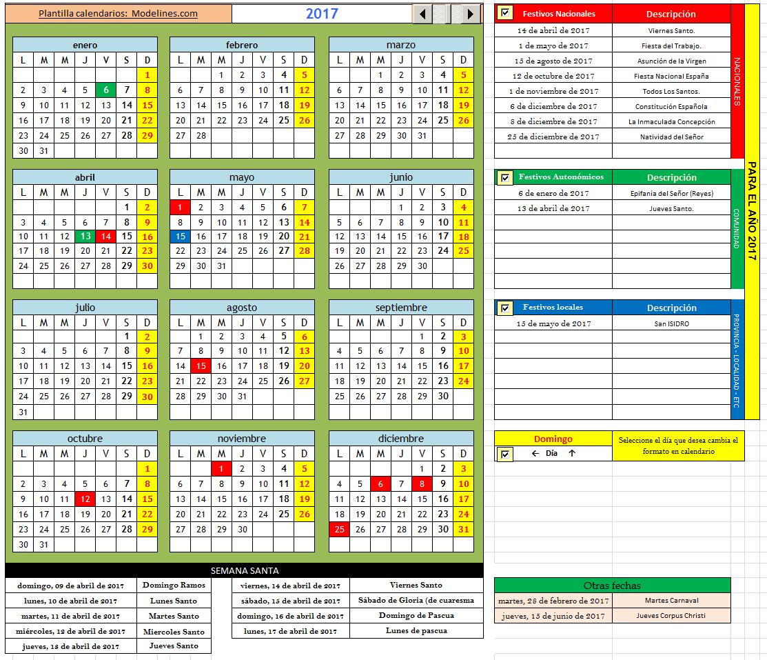 Modelo de plantilla de calendario
